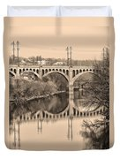 The Schuylkill River And Manayunk Bridge In Sepia Duvet Cover by Bill Cannon