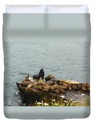 The Sea Lion And His Harem Duvet Cover by Mary Machare