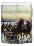 The Sleigh Ride Duvet Cover by Alfred von Wierusz Kowalski