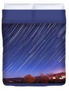 The Star Trail In Ithaca Duvet Cover by Paul Ge