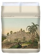 The Temple Of Buddha Of Borobudur In Java Duvet Cover by Splendid Art Prints