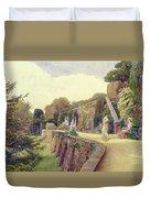 The Terrace At Berkeley Castle Duvet Cover by George Samuel Elgood