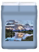 The Tetons From Oxbow Bend Duvet Cover by Dan Sproul