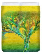 The Tree In Summer At Sunrise - Painterly - Abstract - Fractal Art Duvet Cover by Andee Design