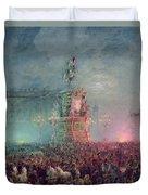 The Unveiling Of The Nicholas I Memorial In St. Petersburg Duvet Cover by Vasili Semenovich Sadovnikov