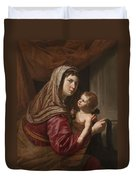 The Virgin And Child Duvet Cover by Jan van Bijlert or Bylert