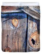 The Weathered Abstract From A Barn Door Duvet Cover by Bob and Nadine Johnston