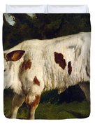 The White Calf Duvet Cover by Gustave  Courbet