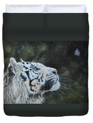 The White Tiger And The Butterfly Duvet Cover by Louise Charles-Saarikoski