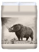 The Woolly Rhinoceros Is An Extinct Duvet Cover by Philip Brownlow