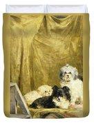 Three Dogs Duvet Cover by Charles van den Eycken
