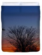 Three Geese At Sunset Duvet Cover by Raymond Salani III