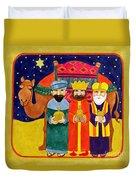 Three Kings And Camel Duvet Cover by Linda Benton