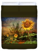 Three Sunflowers Duvet Cover by Adrian Evans