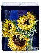 Three Sunny Flowers Duvet Cover by Irina Sztukowski