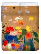 Three Vases Of Flowers Duvet Cover by Odilon Redon