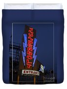 Thunderbolt Rollercoaster Neon Sign Duvet Cover by Edward Fielding