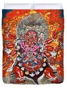Tibetan Thangka  - Wrathful Deity Hayagriva Duvet Cover by Serge Averbukh