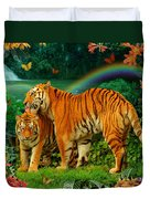 Tiger Love Tropical Duvet Cover by Alixandra Mullins