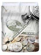 Time is money concept Duvet Cover by Les Cunliffe