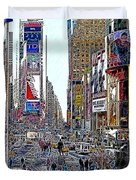 Time Square New York 20130503v8 Square Duvet Cover by Wingsdomain Art and Photography