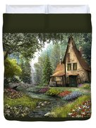 Toadstool Cottage Duvet Cover by Dominic Davison