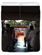 Tourists on the sight-seeing bus run by the Hippo company in Singapore Duvet Cover by Ashish Agarwal