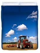 Tractor In Plowed Field Duvet Cover by Elena Elisseeva