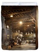 Train - Ready in the roundhouse Duvet Cover by Mike Savad
