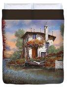 Tramonto Con Bougainvillea Duvet Cover by Guido Borelli