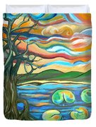 Tree And Lilies At Sunrise Duvet Cover by Genevieve Esson