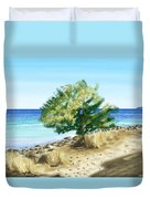 Tree On The Beach Duvet Cover by Veronica Minozzi