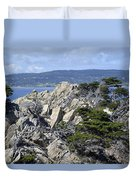 Trees Amidst The Cliffs In California's Point Lobos State Natural Reserve Duvet Cover by Bruce Gourley