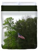 Trees And Flag Duvet Cover by Joseph Baril