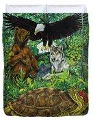 Tribal Gathering Duvet Cover by Derrick Higgins
