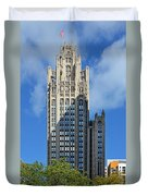 Tribune Tower Chicago - History Is Part Of The Building Duvet Cover by Christine Till