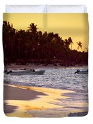 Tropical Beach At Sunset Duvet Cover by Elena Elisseeva