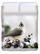 Tufted Titmouse In The Snow Duvet Cover by Christina Rollo