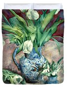 Tulips And Snowdrops Duvet Cover by Julia Rowntree