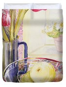 Tulips With Fruit In A Glass Bowl  Duvet Cover by Joan Thewsey