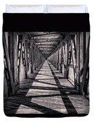 Tulsa Pedestrian Bridge in Black and White Duvet Cover by Tamyra Ayles
