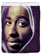 Tupac Shakur And Lyrics Duvet Cover by Tony Rubino