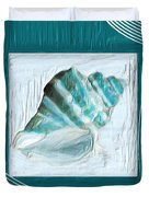 Turquoise Seashells XXII Duvet Cover by Lourry Legarde