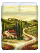 Tuscan Road With Poppies Duvet Cover by Marilyn Dunlap
