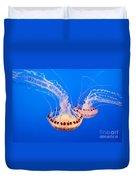 Twin Dancers - Large Colorful Jellyfish Atlantic Sea Nettle Chrysaora Quinquecirrha  Duvet Cover by Jamie Pham