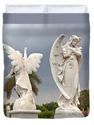 Two Angels With Cross Duvet Cover by Terry Reynoldson