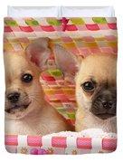 Two Chihuahuas Duvet Cover by Greg Cuddiford