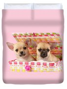 Two Chihuahuas Duvet Cover by Greg Cuddiford
