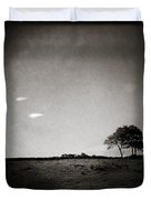 Two Clouds and a Tree Duvet Cover by Dave Bowman