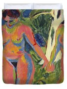 Two Nude Women in a Wood Duvet Cover by Ernst Ludwig Kirchner